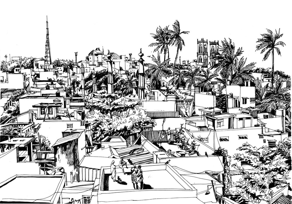 2.  Roofs of Pondicherry Pondicherry. Original 60cm x 75 cm Black ink on paper