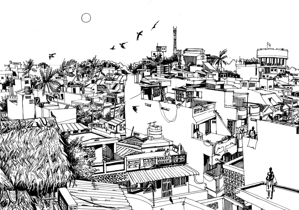 4. View to Cazy street. Pondicherry.  Original 60cm x 75 cm Black ink on paper