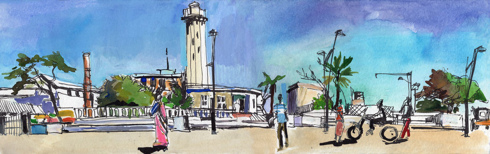 11. Old light house in Pondicherry Colour pencils, water-colours, black pen Original 42cmx12cm