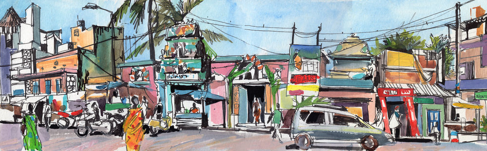 12. MG road at noon. Pondicherry Colour pencils, watercolours, ink Original 42cmx12cm