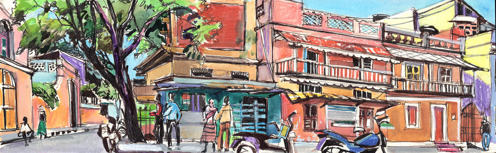14. Bazar St. Laurent street. Pondicherry Watercolours , ink on paper Original 42cmx12cm