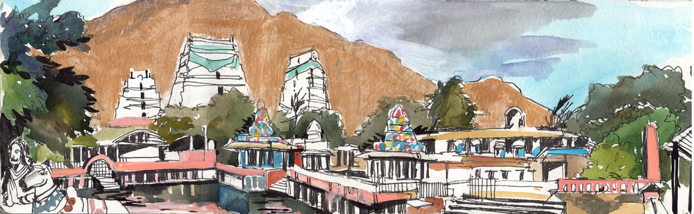 2. Arunachala hill. Tiruvannamalai.  Watercolours, ink, golden acrylic paint Original size 42cmx12cm