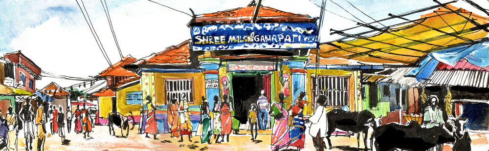 4.Temple in Gokarna  Watercolours, ink Original size 42cm x 12cm