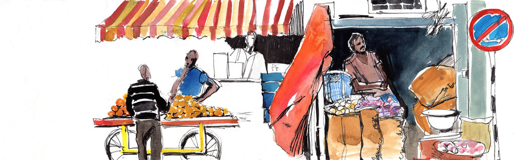 7. Vendors near Mysore market Watercolours, ink Original size 42cm x 12cm