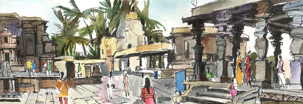 8. In the temple of Belur. Karnataka Colour pencils, watercolours  Original 42cm x 12cm