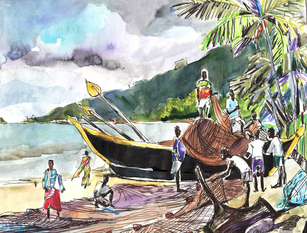10. Fishermen folding the net in Goa. Palolem beach Watercolours, black pen Original size 18cm x 28cm