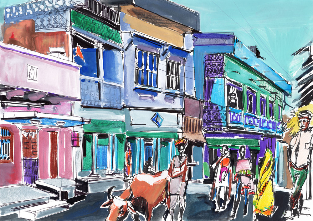 15. Street in Rajasthani village  Colour pencils, gouache, black ink  Original size: 29cm x 21cm