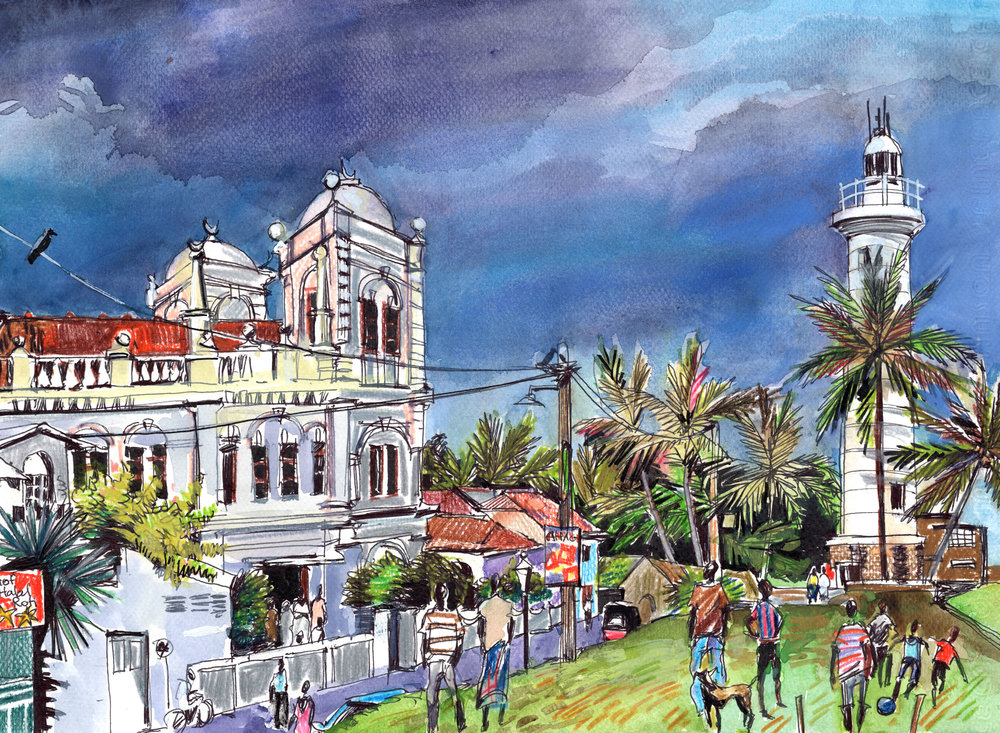 3. Meeran Masjid. Dutch Fort. Galle Watercolours, ink, colour pencils Original size 25cm x 35cm