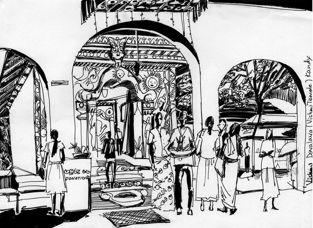 10. Vishnu Devalaya (Vishnu temple). Kandy Black ink Original size 25cm x 35cm