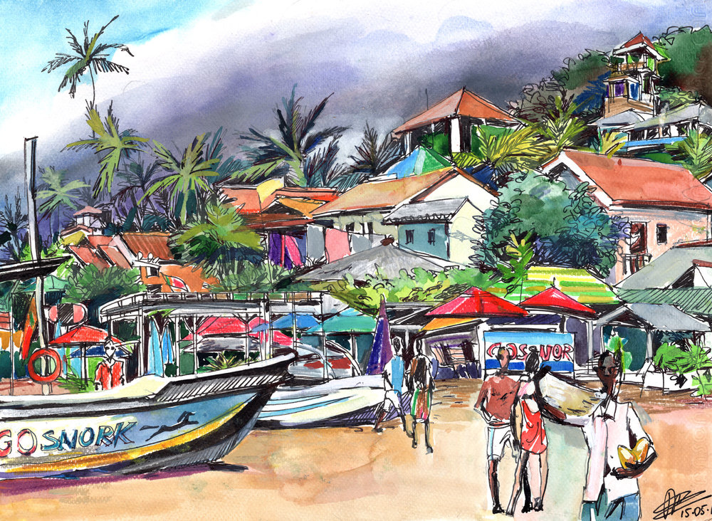 6. Unawatuna beach in off-season Watercolours, ink, colour pencils Original size 25cm x 35cm