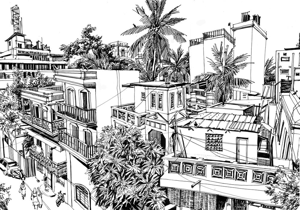 6. View to Suffren street. Original 60cm x 75 cm Black ink on paper