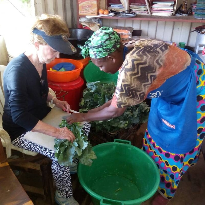 Meg's Mother In Law, Lulu, with Bana Lizi, our Feeding Program Cook for Matero Compound