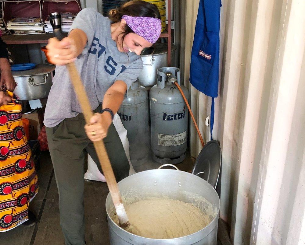 Summer 2018 Intern, Kirbi, learning how to stir enshima
