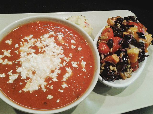Tomato Feta #soup paired with a strawberry spinach salad  #salad #lunch #vegan #vegetarian #nourish #food #foodies #healthy #healthlifestyleforever