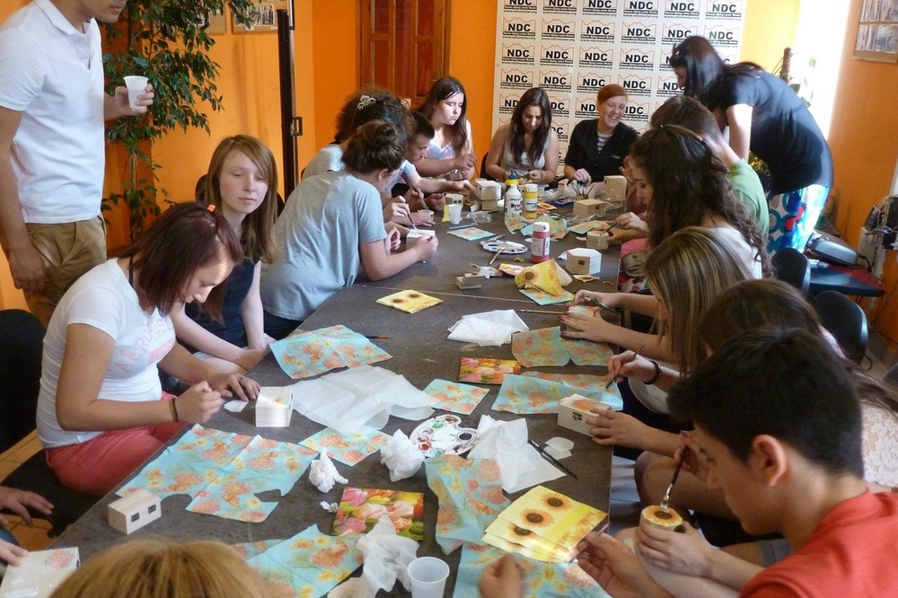 Craft workshop with young people from Egipatsko Selo children's home, and Nasa Djeca charity.