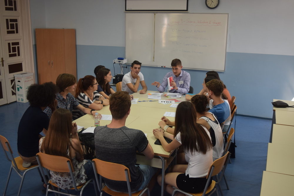 Group preparing for the European Youth Parliament debate