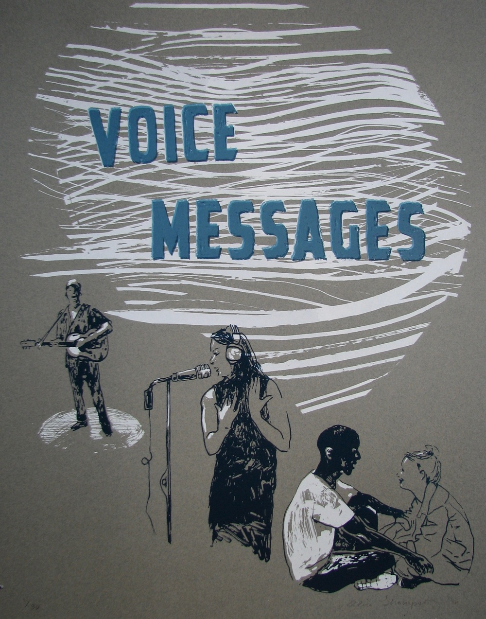This hand-printed poster for Voice Messages, created by artist Alice Thompson, is the star of the Art of the Voice campaign perk.