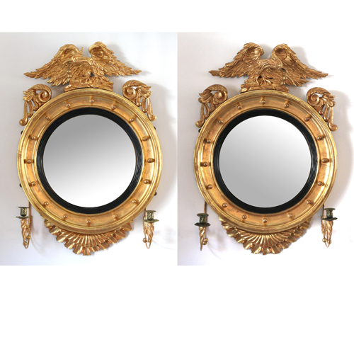 Lot 221 - Pair Gilt-Carved Girandole Mirrors