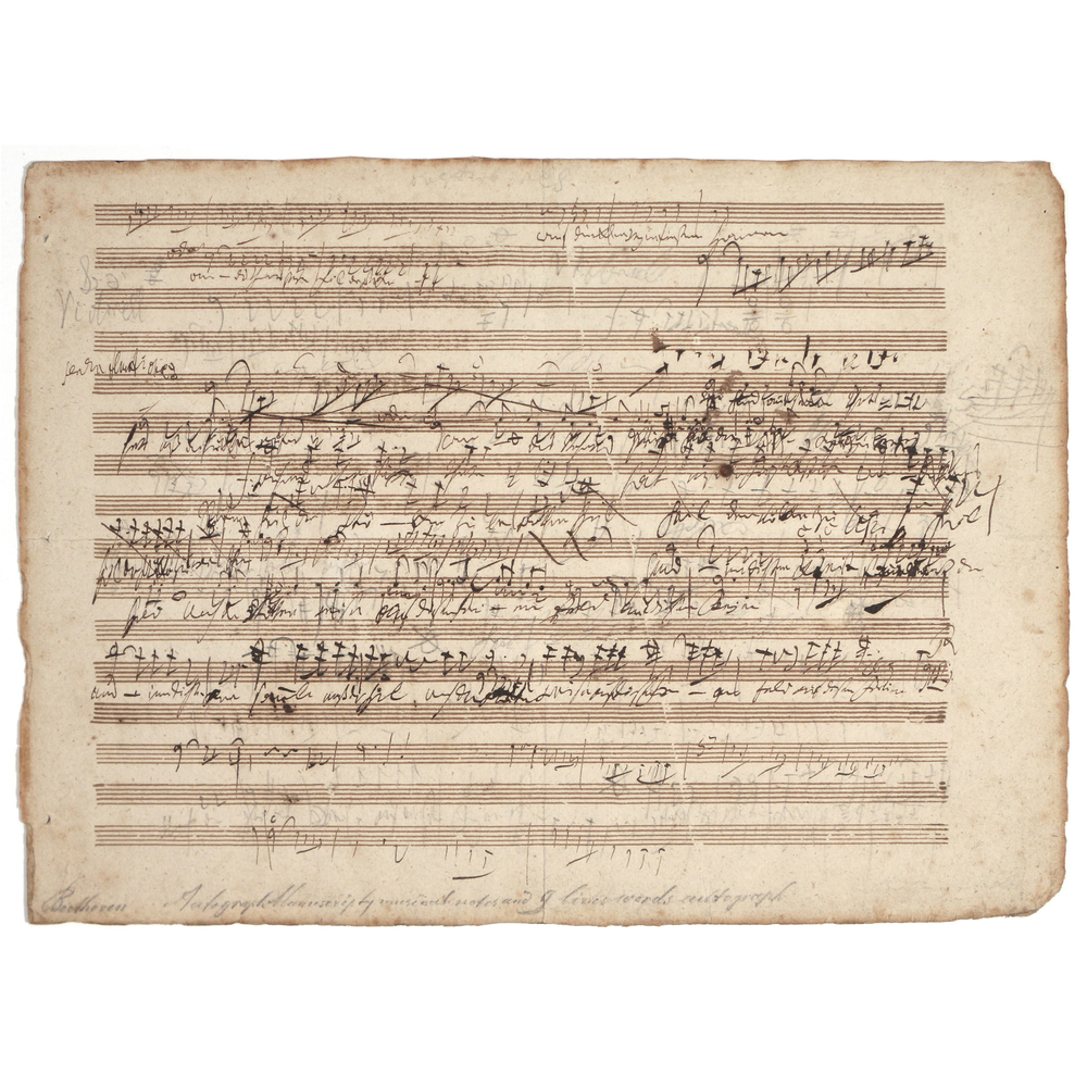 "A Beethoven sketch leaf depicting the early workings of his opus 117, ""King Stephan"", commissioned by Emperor Francis I of Hungary for the inauguration of a new theater. The item sold in our November 2015 auction for $120,000."