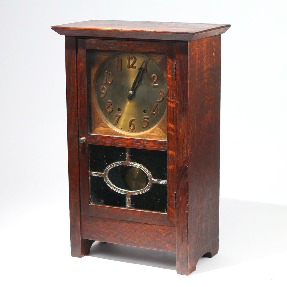 RARE GUSTAV STICKLEY OAK MANTEL CLOCK