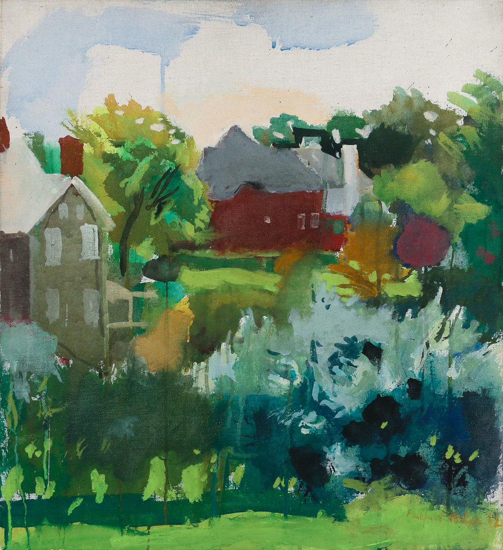 FAIRFIELD PORTER (American, 1907-1975),  Bushes , 1962, casein on canvas, 24 x 22 in., sold in July 2018,  Hammer price: $80,000