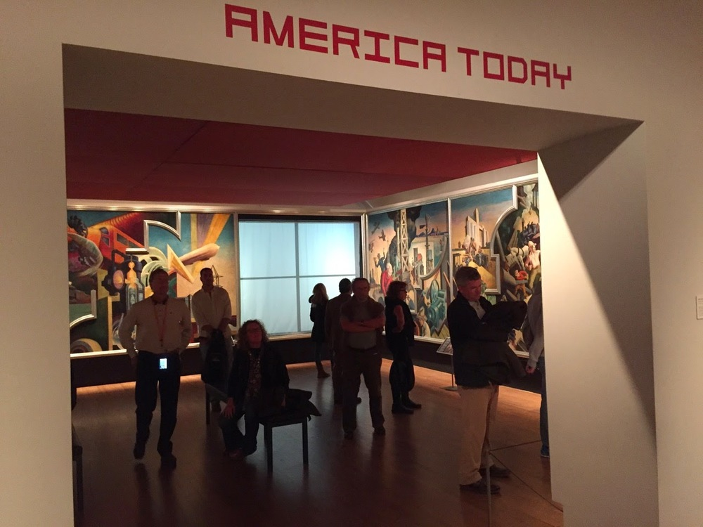 Entrance to the installation of 'America Today' by Thomas Hart Benton, 1930-31.