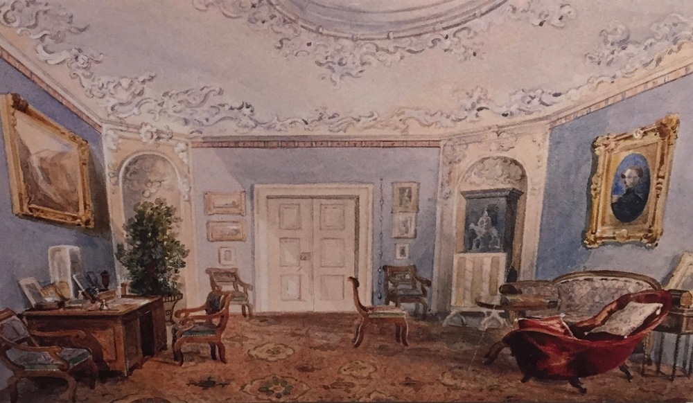 Note the portrait in original frame on the wall at right.