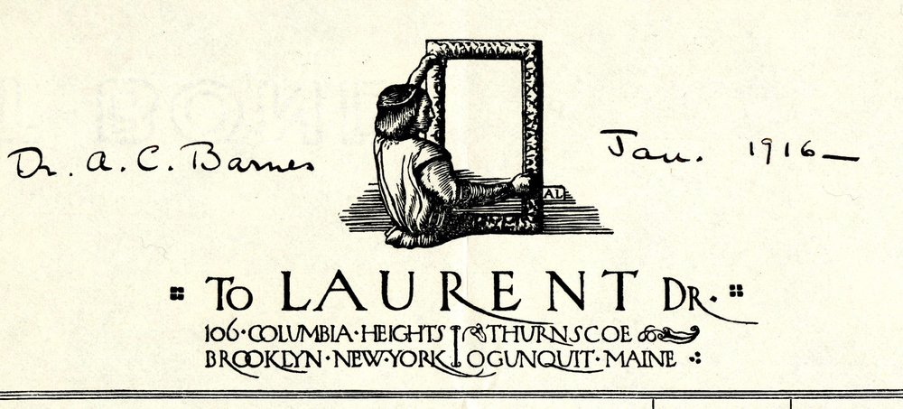 Letterhead on an invoice for frames from Robert Laurent to Dr. Alfred Barnes