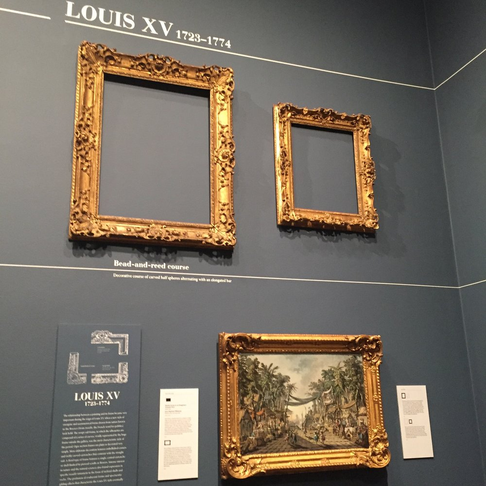 View of ebullient Louis XV frames at the exhibition 'Louis Style: French Frames, 1610-1792' at the J. Paul Getty Museum (September 15, 2015- January 3, 2016)