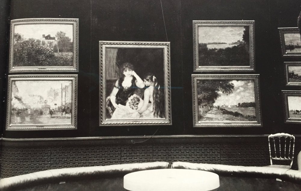 Detail view of Durand-Ruel 'baguette' frames in the Louis XVI style in the exhibition  'Pictures by Boudin, Cezanne, Degas, Manet, Monet, Morisot, Pissarro, Renoir, Sisley. Exhibited by Messrs. Durand-Ruel and Sons of Paris'  at Grafton Gallery,  London, January & February, 1905.