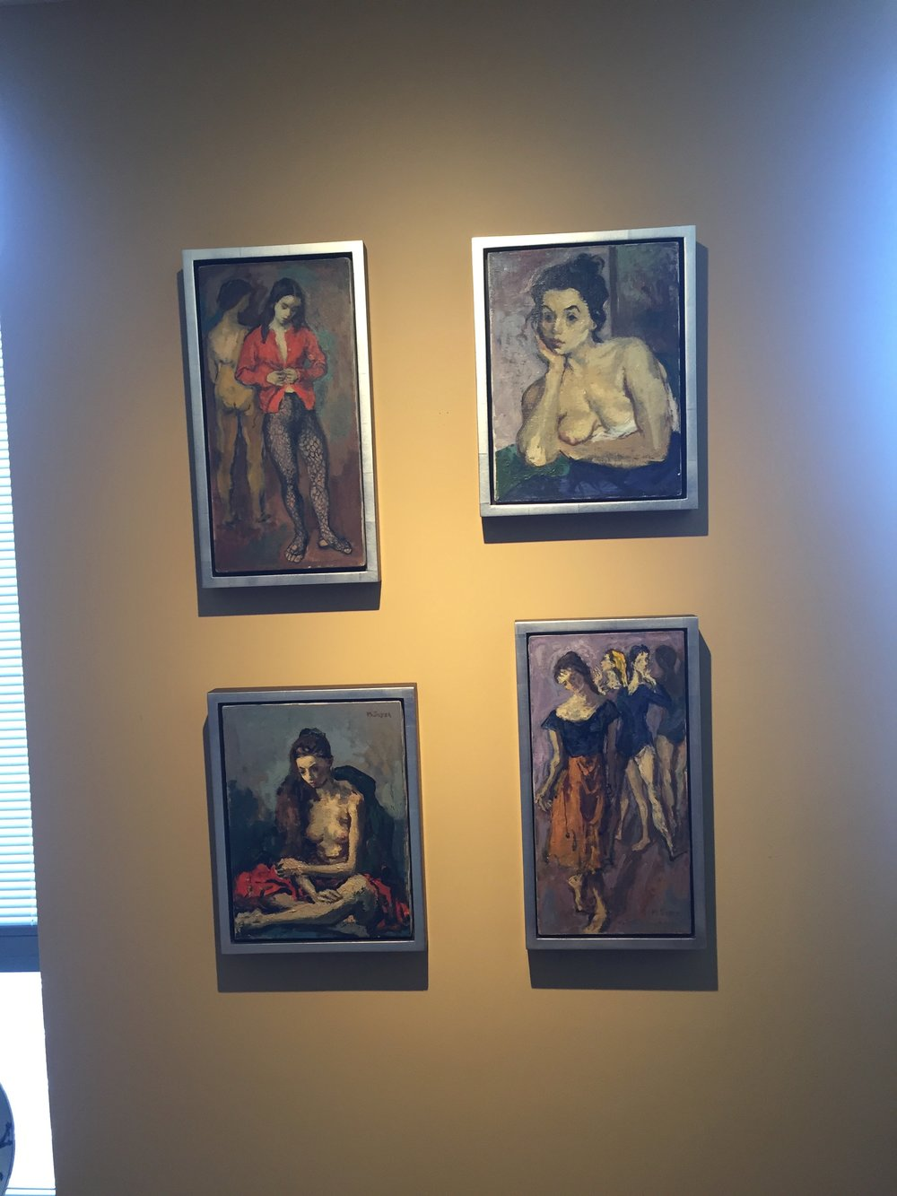 Four Moses Soyer paintings in new location with new frames and float-style fitting.