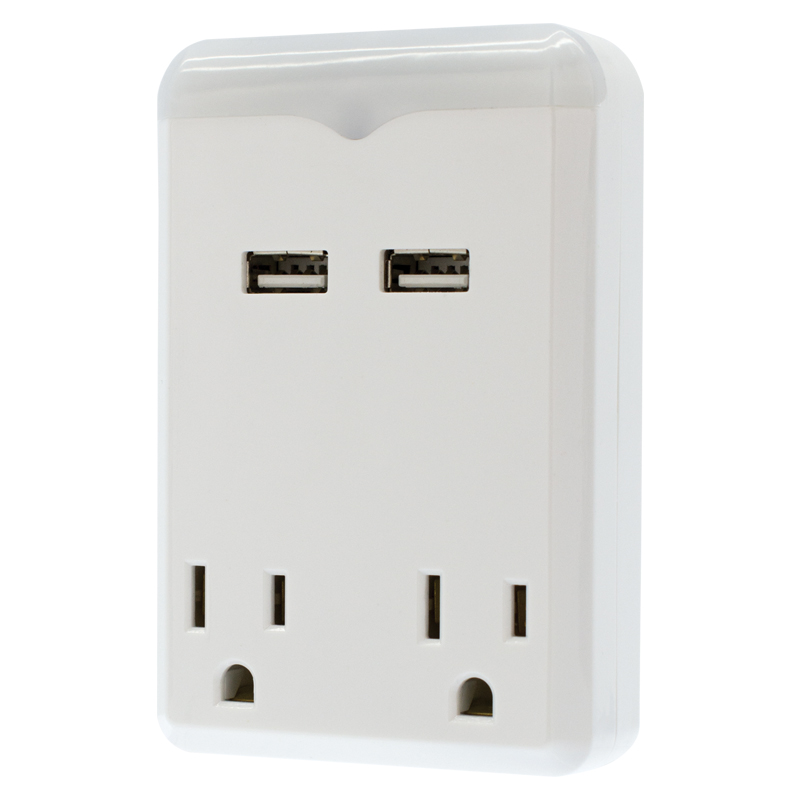 2.4AMP NIGHT LIGHT WITH 2 USB AND 2 AC OUTLETS