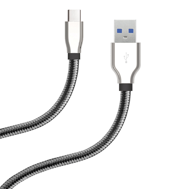 10' mETAL TIP BRAIDED CHARGE & SYNC CABLE FOR USB TYPE C 3.0