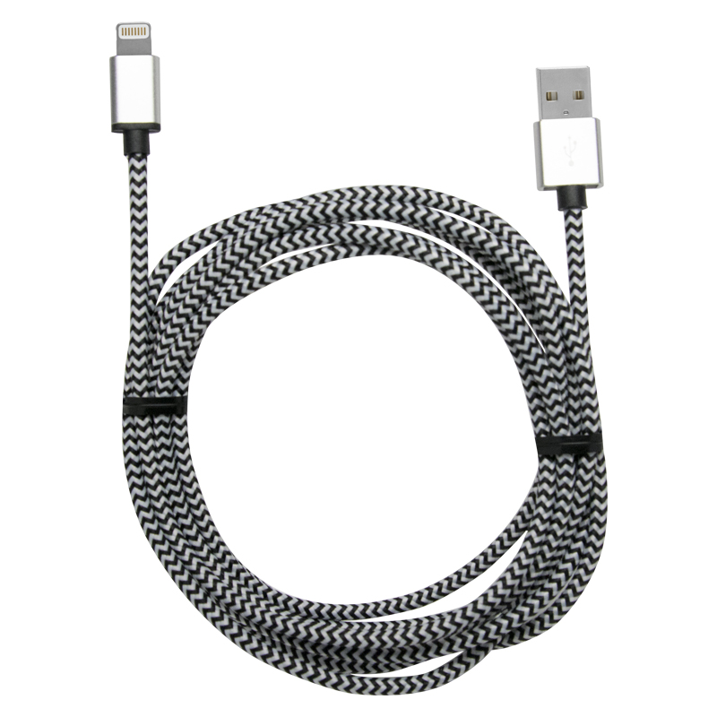 8' BRAIDED CHARGE & SYNC CABLE FOR APPLE LIGHTNING