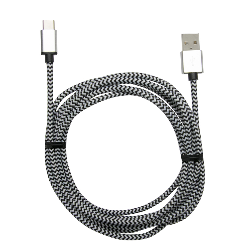 8' BRAIDED CHARGE & SYNC CABLE FOR TYPE C 2.0