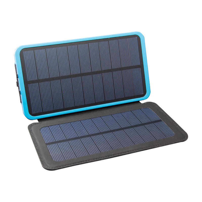 8000 mah rugged dual panel solar power bank w/qc 3.0
