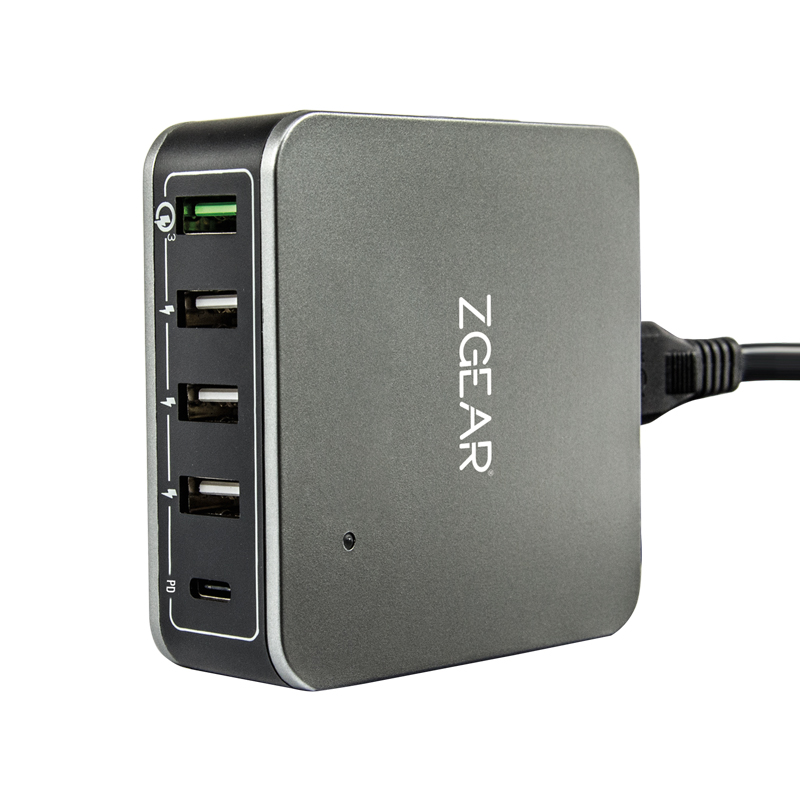 5 port charger with Qualcomm Quick Charge 3.0 and Type C power delivery