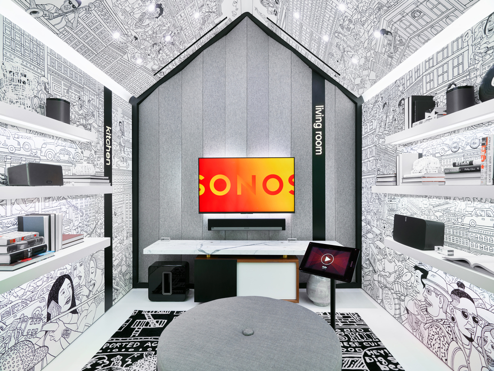a custom illustration of the Sonos store's home in SoHo by New York cartoonist   Mark Stamaty