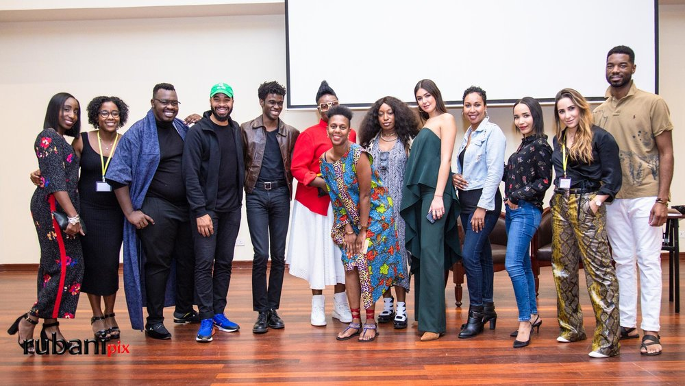 From Left: Tanya Christian ( Editor), Melissa Henderson ( Me), Brian Babu ( Stylist), De'Von Johnson (Publisher), Bellamy Brewster (Visual Artist), Mimi Plange (Designer), Linda Murithi ( Founder of CFK), Iris Barbee Bonner (Designer), Claudia Rondon Torres (Fashion Director), Suzie Wokabi ( Beauty Entrepreneur ), Natasha Roberts ( Brand Executive), Mariana Cantu ( Producer), Jamel Daniels ( Designer).