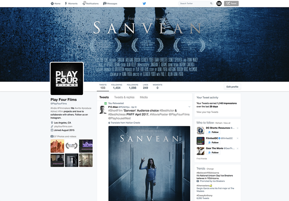 Movie poster, social media banners and original content posts created for Play Four Films.