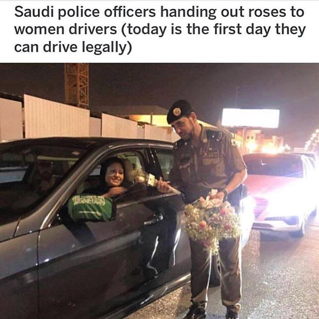 ...because kindness (& sweetness) is timeless!!! A huge step forward in the right direction for our Saudi women! We salute this man for honoring women on this momentous occasion!! 🙌🏼❤️🙏🏼🌹 #blessyou #humanityfirst #unityindiversity #sneezeframe #weareallthesame #saudiwomen #saudidrivers