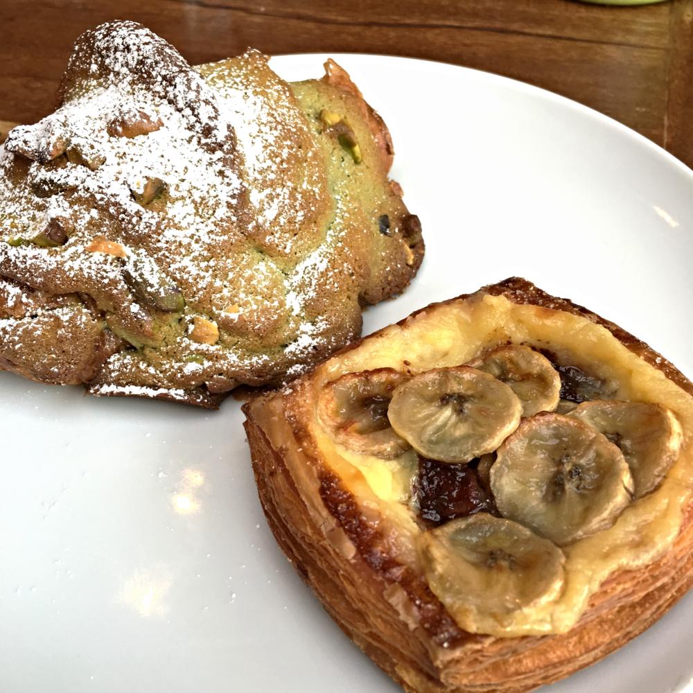 Pistachio-Strawberry Croissant and Banana Nutella Crostata
