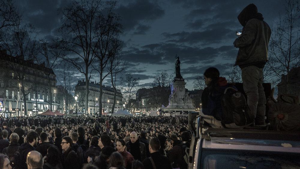 Nuit Debout protest at Place de la Republique