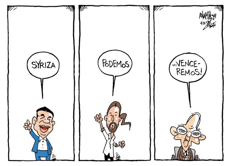 """Syriza, Podemos, Venceremos"" (""Syriza, Podemos, We Will Win"") - Tsipras, Iglesias, Schäuble  -  by Tasos Anastasiou"