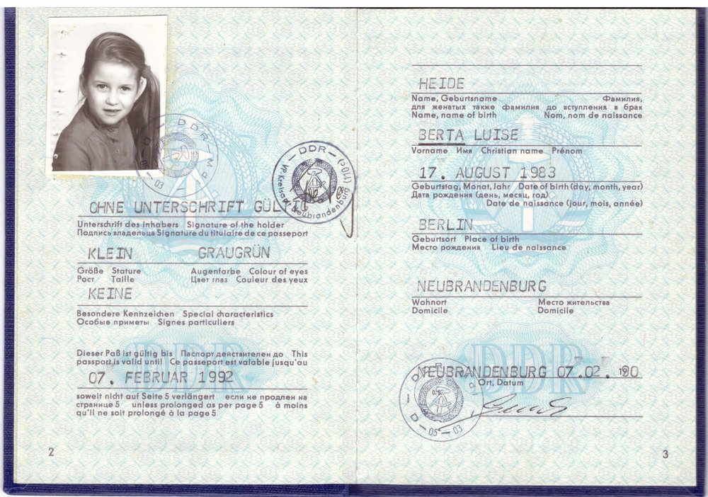 Berta's Old GDR Passport