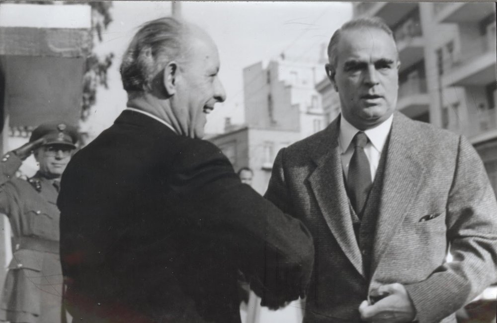 Konstantinos Karamanlis (on the right) was an emblematic figure during the 70s and 80s