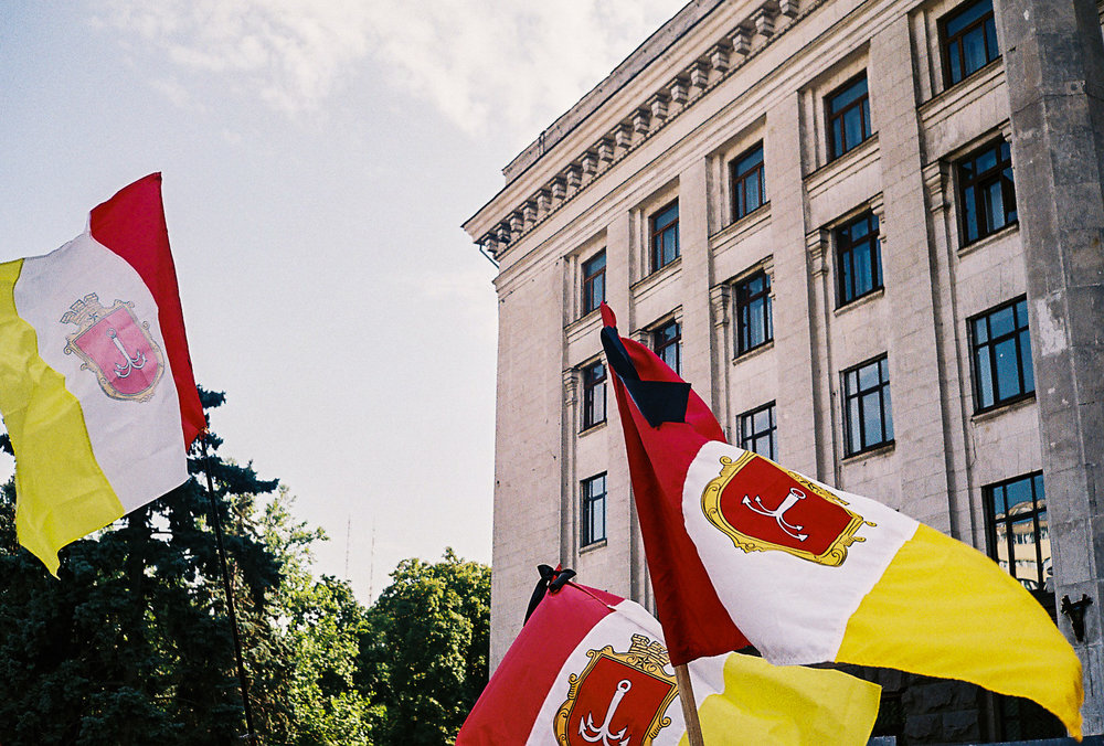 Flags of Odessa at the Sunday gathering at Kulykove Pole.
