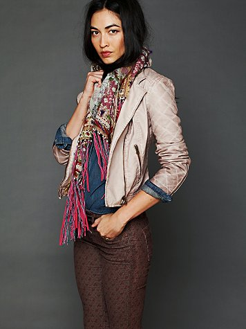 Free People Quilted Vegan Leather Jacket