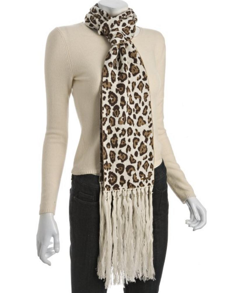 MICHAEL MICHAEL KORS Cream Leopard Knit Wool Fringe Scarf