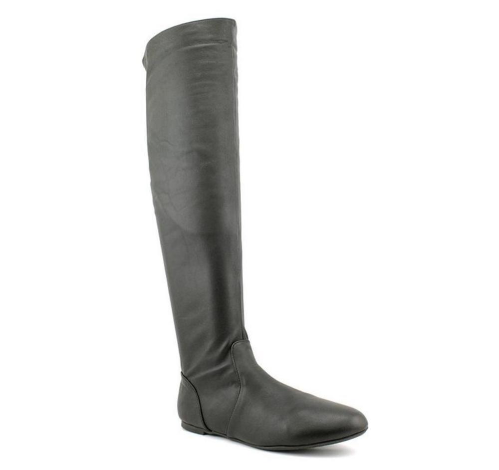 MaxStudio Women's Holden Over-the-Knee Flat Boot, Black Oily Suede